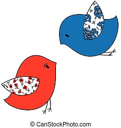 estilizado, dos pájaros