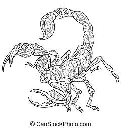 estilizado, escorpión, zentangle