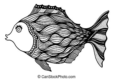 estilizado, fish., zentangle