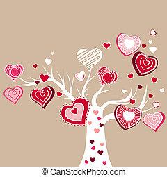 estilizado, florecer, árbol, con, diferente, rojo, corazones