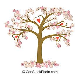 estilizado, florecimiento, árbol