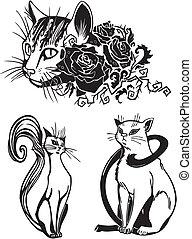 estilizado, gatos, -, elegancia, y, elegante, cats.