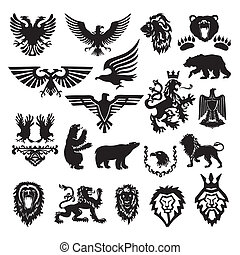 estilizado, heráldico, vector, símbolo