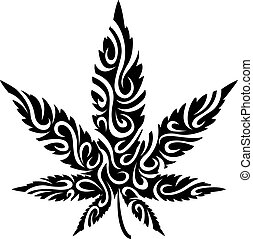 estilizado, hoja de la marijuana