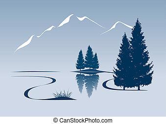 estilizado, ilustración, actuación, un, río, y, paisaje de...