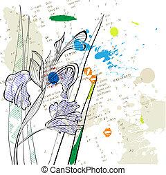 estilizado, iris, flores, plano de fondo