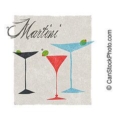 estilizado, letras, retro, ilustración, martini
