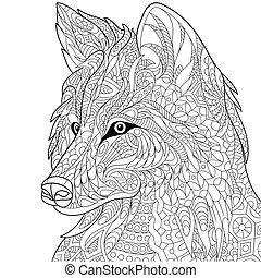 estilizado, lobo, zentangle