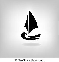 estilizado, luz, barco, plano de fondo