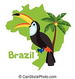 estilizado, mapa, de, brasil, con, tucán, y, palmera