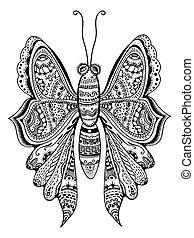 estilizado, mariposa, zentangle