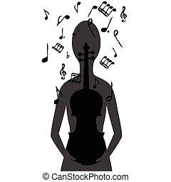 estilizado, mujer, con, violín, y, notas musicales
