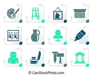 estilizado, multa, objetos, arte, iconos