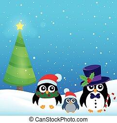 estilizado, navidad, pingüinos