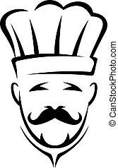 estilizado, negro y blanco, chef, icono