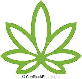 estilizado, olla, verde, marijuana, mala hierba