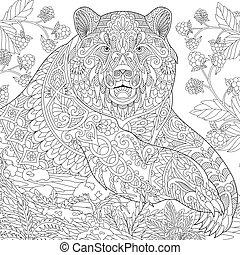 estilizado, oso pardo, zentangle