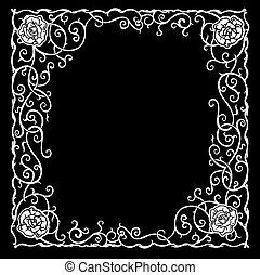 estilizado, patrón, con, negro, rosas, y, curves.
