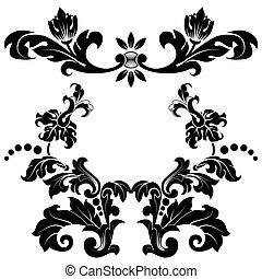 estilizado, patrón floral