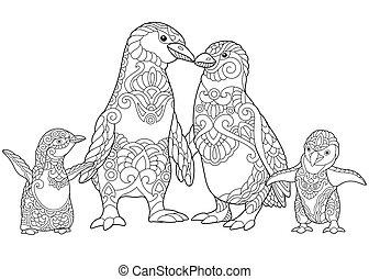 estilizado, pingüinos, familia , zentangle