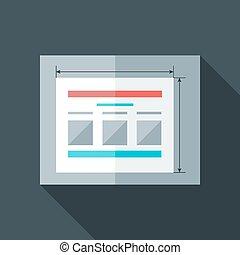 estilizado, plano, prototyping, sitio web