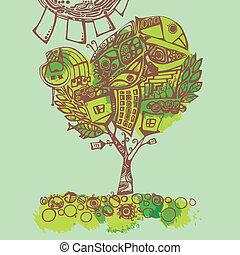 estilizado, primavera, illustration., árbol