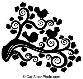 estilizado, rama, silueta, con, aves