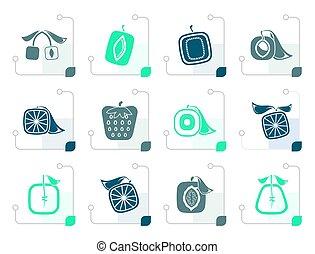 estilizado, resumen, cuadrado, fruta, iconos