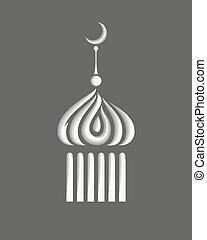estilizado, símbolo, o, minarete, icono