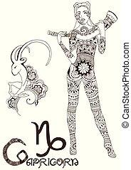 estilizado, señal, capricornio, zodíaco