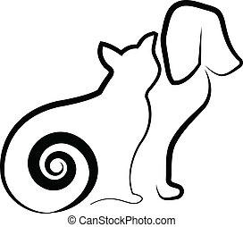 estilizado, silueta, perro, gato
