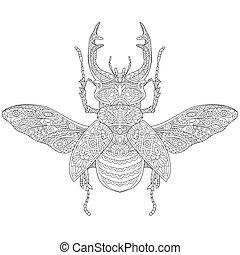 estilizado, stag-beetle, (lucanus, cervus), zentangle