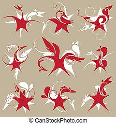 estilizado, star-bird, conjunto, de, emblema