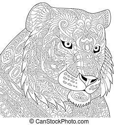 estilizado, tigre, zentangle