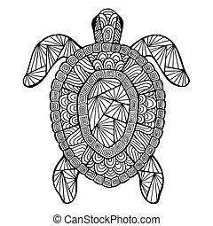 estilizado, tortuga, vector, zentangle