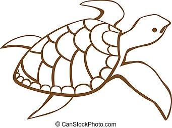 estilizado, turtle.