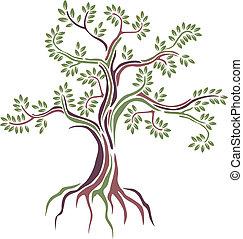estilizado, vector, árbol, belleza