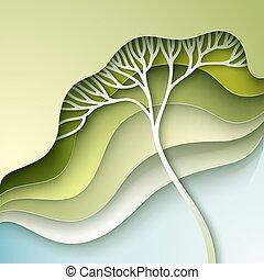 estilizado, vector, árbol, ilustración