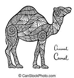 estilizado, vector, camello, zentangle, aislado, blanco,...
