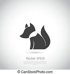 estilizado,  vector, zorro, icono
