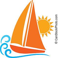 estilizado, yate, (sailboat, symbol)