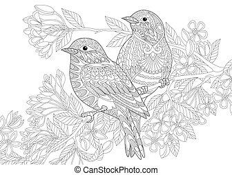 estilizado, zentangle, aves, dos