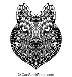 estilizado, zentangle, lobo, cara