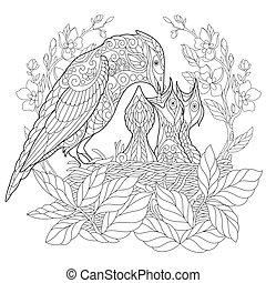 estilizado, zentangle, pájaro, arrendajo