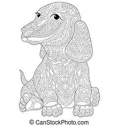 estilizado, zentangle, perrito, perro, dachshund