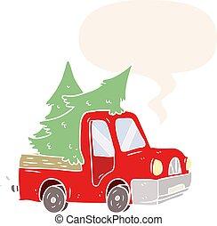 estilo, árvores, caricatura, pickup, carregar, caminhão, retro, borbulho fala, natal