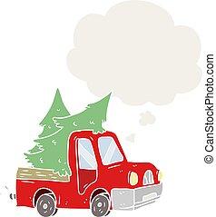 estilo, árvores, pensamento, pickup, carregar, caminhão, retro, bolha, caricatura