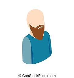 estilo, ícone, 3d, homem, isometric, calvo, barba