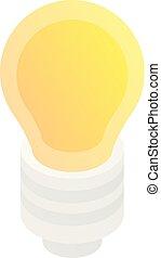 estilo, ícone, bulbo, luz, isometric