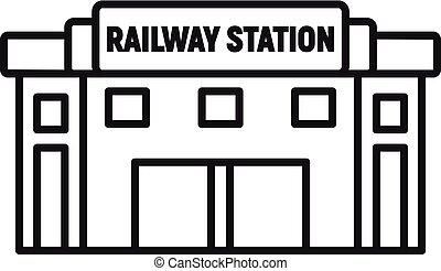 estilo, ícone, esboço, estrada ferro, vidro, estação